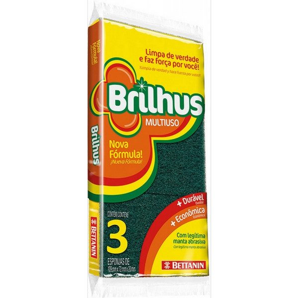 ESPONJA BRILHUS MULTIUSO - PACKS POR 3 UNIDADES